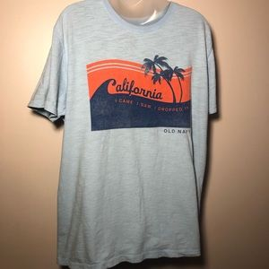 XL OLD NAVY Blue Summer Graphic T-Shirt Top CALI